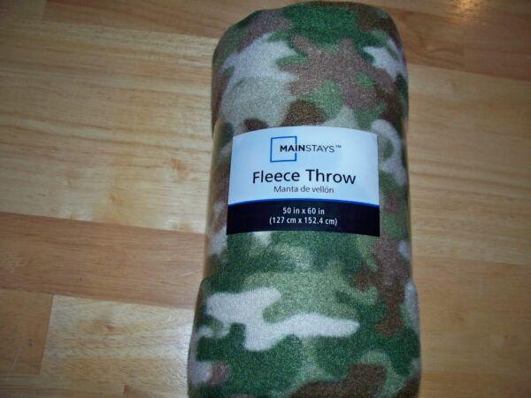 "Mainstay 50"" X 60"" Fleece Green Camo Throw Blanket"