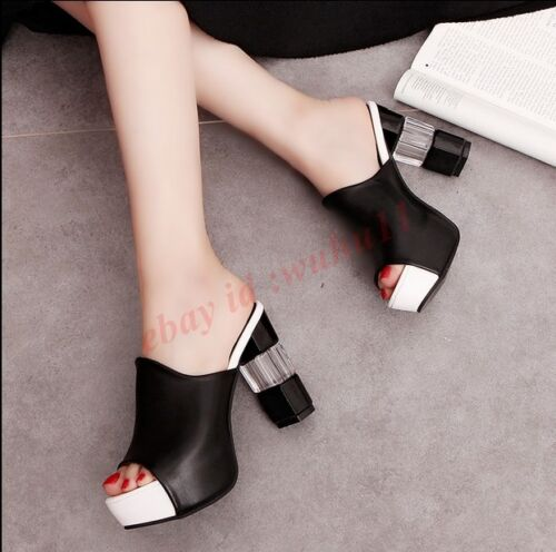Korean Hot Women Open Toe Platform Sandals Block High Heel Slippers Shoes Size