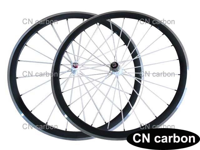 Alloy brake surface 38mm Clincher carbon bicycle wheels