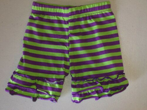 Ruffle Trimmed Girls Shorts Cotton Jersey Stripe Mid-Thigh Girls 2T-12
