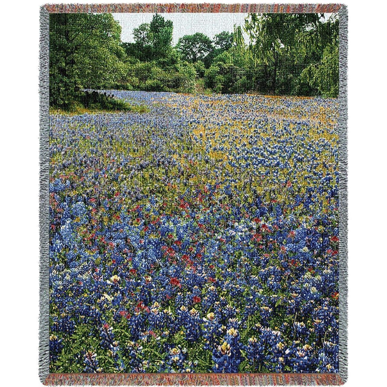 Field of blubonnet Flowers Woven Art Tapestry Tapestry Tapestry Throw 1626-T Made in USA d120a5