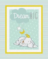 Disney Dumbo Elephant Quilt Top Wall Hanging Panel Fabric Cotton Sweet Dreams