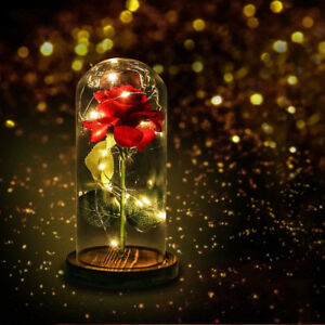 Beauty-And-The-Beast-Enchanted-Rose-Glass-LED-Lighted-Wedding-Home-Decor-Gift