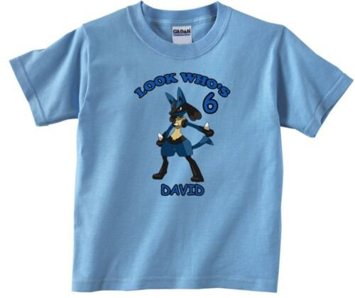 Pokemon Lucario Personalized Custom Birthday Shirt in 8 Different Colors