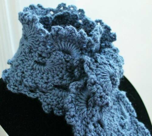 Beautiful Country Blue Queen Anne/'s Lace Handmade Crochet Scarf