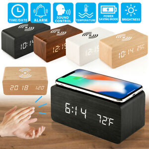 Modern-Wooden-Wood-Digital-LED-Desk-Alarm-Clock-Thermometer-Qi-Wireless-Charger