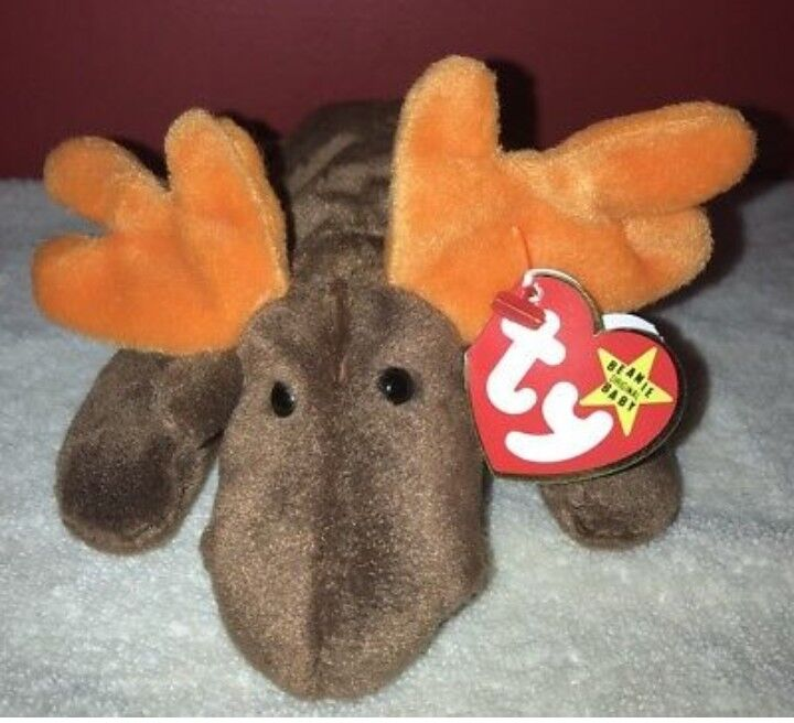 Rare Chocolate TY Beanie Babies Retired Original Moose Double Tag PVC Pellets