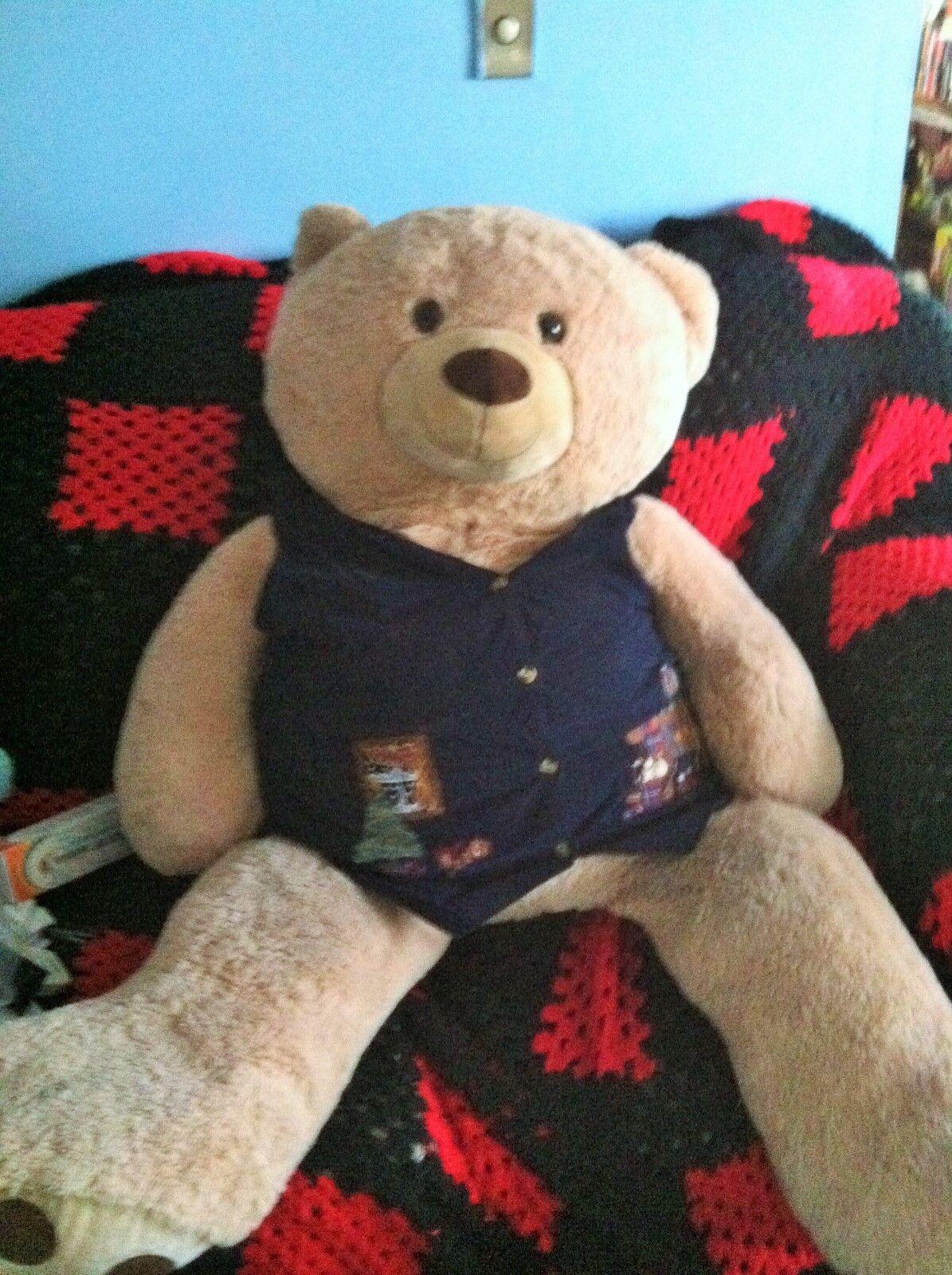 GIANT TEDDY BEAR REAL RARE JUMBO  FRIENDLY  4 FEET Stuffed Animal BEST MADE