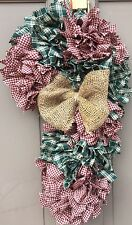 Christmas candy Cane Burgundy And green  primitive Rag Wreath With Burlap Bow