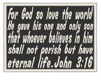 John 3:16 Bible Verse Iron On Patch Christian Emblem White Border
