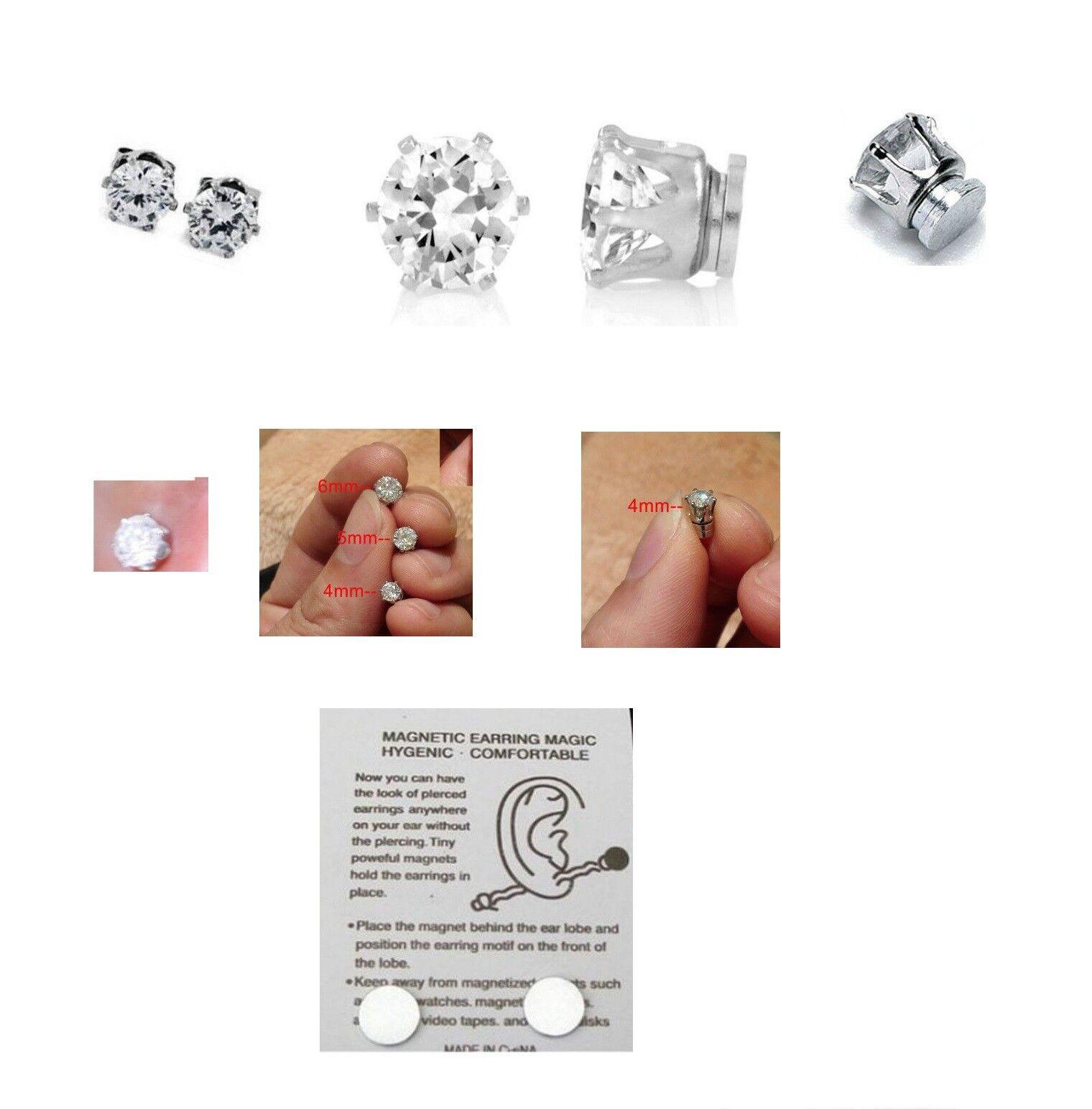 1d1dae98f98e3 Men Boys Crystal Magnetic Stud Earrings Non Piercing Clip on Magnet Ear  Stud-R