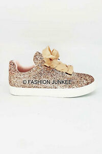 ROSE GOLD BOW GLITTER SNEAKERS Tennis Shoes Ribbon Lace Up Flats Party Women's