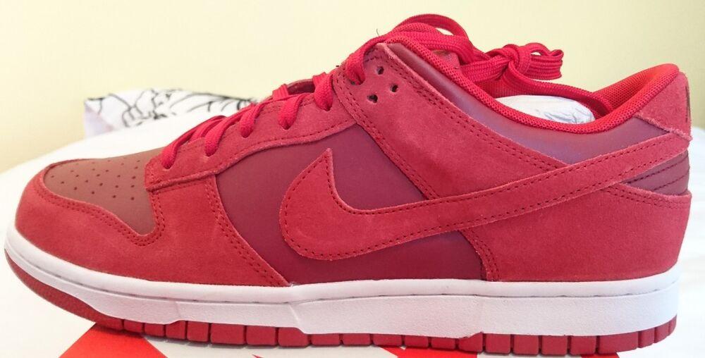 Nike Dunk Bas Gym rouge blanc UK 9 Baskets Homme 904234 601 neuf en cuir et daim-