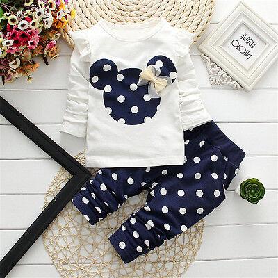 Baby Kinder Mädchen Gepunktet Minnie Schleifenknopf T-shirt Oberteile+ Hose