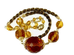 Vintage-Gold-Tone-Cognac-Amber-Glass-Bead-Necklace-Gold-Thread-GIFT-BOXED