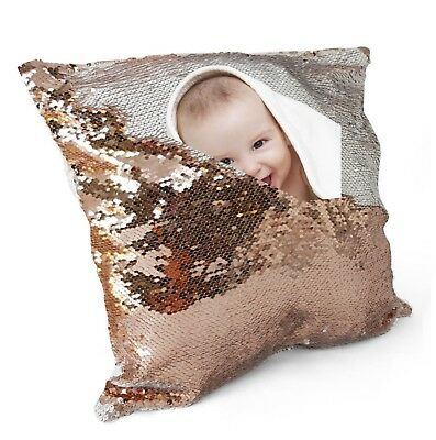 Personalised Photo Sequin Cushion Cover Magic Reveal Your Name Text GIFT