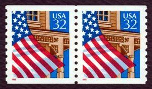 #2913 32c Bandera Sobre Porche, Bobina Par, Nuevo Cualquier 5=