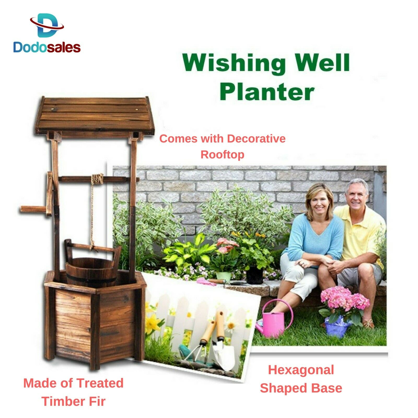 Outdoor Rustic Wishing Well Planter Pot Garden Decor Flower Zen