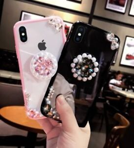 Airbag-Stand-Holder-Bling-Diamond-Pearl-Case-Cover-For-iPhone-XR-XS-Max-7-8-Plus