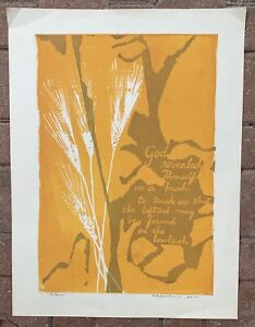 Vintage 60s Harvest Wheat God Screen Print Art Modern Wall Hanging Signed