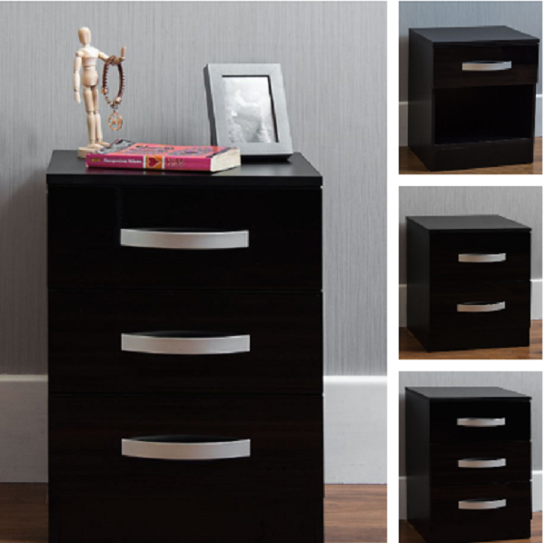 detailed look 0a3e5 43255 Bedside Cabinet Bedroom 1 2 3 Chest Of Drawers Table Furniture High Gloss  Black