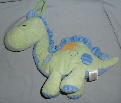 """12"""" Carters Just One Year Carters Blue Green Musical Dinosaur Pull Toy Plush"""