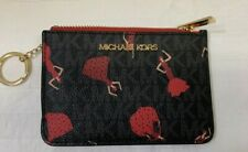 Michael Kors Barcelona Small Top Zip Coin Pouch ID Card Holder Key Ring Wallet