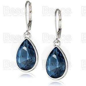 LEVER BACK 925 silver plated SAPPHIRE BLUE DROPPER EARRINGS fashion jewellery UK