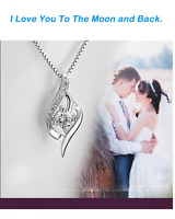 Jewelry 925 Sterling Silver Love Heart Pendant Necklace Chain Women Fashion