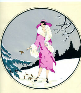 1930s-French-Pochoir-Print-Young-Flapper-Woman-Feeding-Birds-Winterscape-Elbet