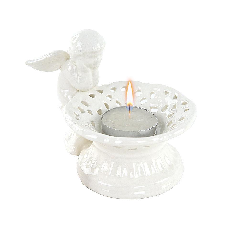 Kerzenständer in Keramik mit Engel Bonboniere Kunsthandwerk By Gian Mark