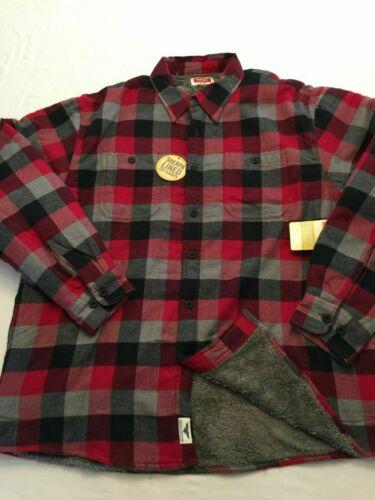 NWT Wrangler Shirt Jacket Long Sleeve L//S Check Red 4 Pocket Sherpa S M L XL 2X