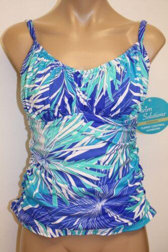 NWT Swim Solutions Swimsuit Bikini Tankini Top  Blue Underwire