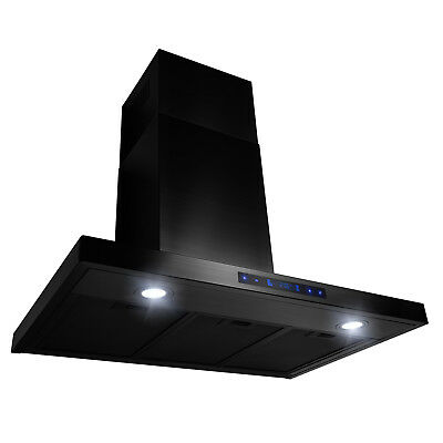 "30"" Wall Mount Stainless Steel Brushed Black Touch Panel Kitchen Range Hood Fan"