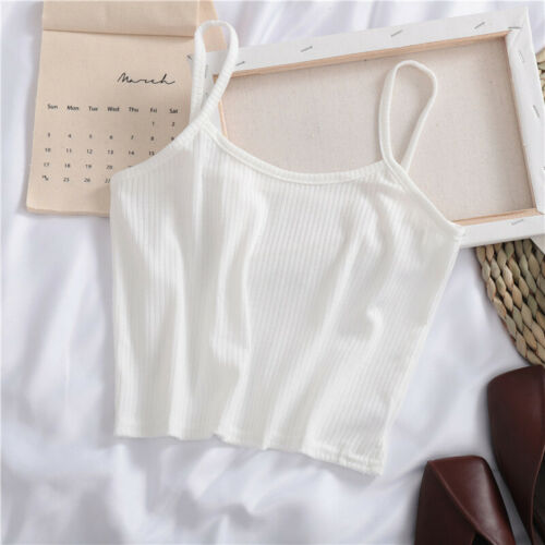 Women Casual Spaghetti Strap Vest Crop Tops Short Camisole Tank Backless T-shirt