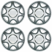 "Linus 15"" Car Wheel Trims Hub Caps Plastic Covers Set of 4 Silver Universal"