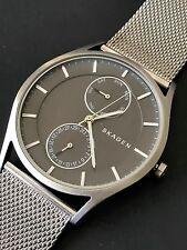 Skagen Holst Mens Unisex SKW6172 Silver Mesh Metal Chronograph Wrist Watch NWT