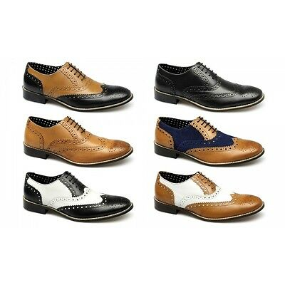 London Brogues GATSBY Mens Soft Leather Suede Lace-Up Funky Evening Formal Shoes