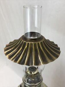 Vtg-034-Brass-034-Ruffle-Petticoat-Pleat-Oil-Lamp-Shade-Hurricane-Chimney-Fitter-2-034-7-034