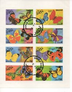 Stamps Oman Dhufar 1972 Butterfly Complete Sheet Of 8