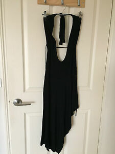 WOMENS-BLACK-DRESS-SIZE-6-HALTER-NECK-NEW-WITH-TAGS