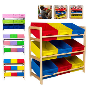Image Is Loading 3 Tier Timber Kids Children Toy Organiser Storage