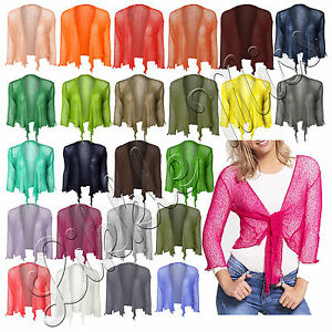 New-Women-Tie-Up-Front-Ladies-3-4-Sleeve-Fine-Knit-Bolero-Cropped-Stretchy-Shrug