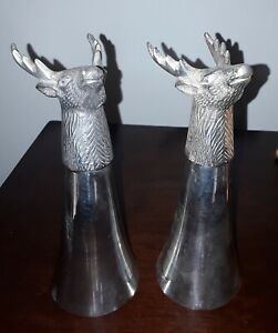 X2-Vintage-Tall-Deer-Head-Metal-Glass-Stag-Buck-Hunting-7-034-Silver-plated