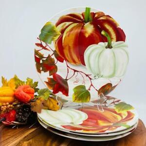 "Royal Norfolk Pumpkin Fall Theme Dinner Plates 10.5"" Dinnerware Set Of 4"