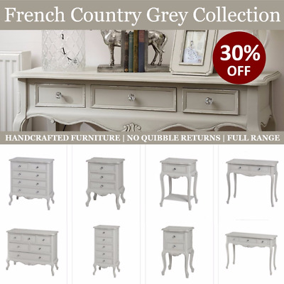 French Country Chic Small Cupboard Dove Grey Shabby Paint Bedside Table Cabinet