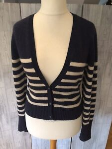 Fat Face Blue V Neck Cardigan With White Stripes, Wool Blend Sz14/42*