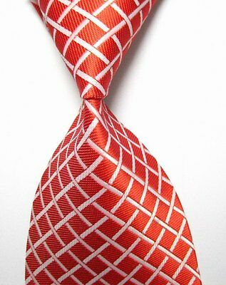 New Fashion Classic Red&White Plaid WOVEN JACQUARD Silk Men's Suits Tie Necktie