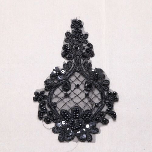1 Pair Bridal Wedding Black//Off White Flower Embroidered Lace Applique Pair DIY