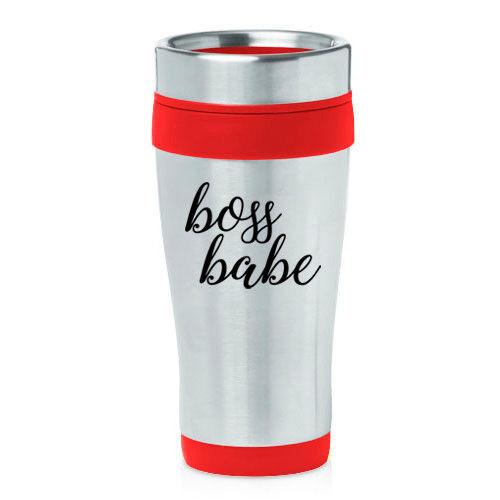 16 oz Travel Coffee Mug Boss Babe